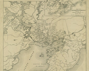 1919 Map of Gloucester, Massachusetts