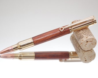 Handmade 30 Caliber Rifle Pen - Burmese Rosewood With 24 Kt Gold