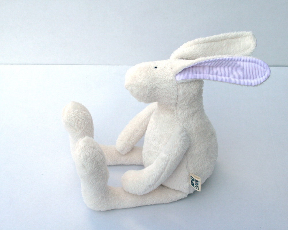 White Easter Bunny, Plush Rabbit - soft stuffed bunny with pink ears