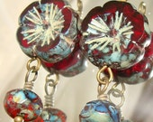 2 Red garnet mermaid flowers picasso bead drop dangles diy jewelry making
