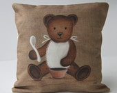 "Cushion cover shabby chic ""Teddy bear bib"" kidsroom, baby gift, nursery art, French decor from Paris, made in french"