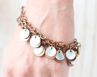 Copper and Mother of Pearl Disks Bracelet - Boho Jewelry