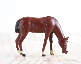 Antique Lead Brown Horse Toy - Grazing - Made in England