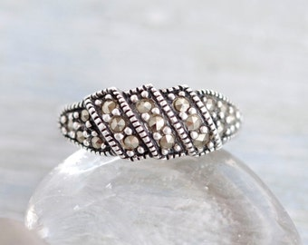 Marcasite Sterling Silver Ring - Size 6.5