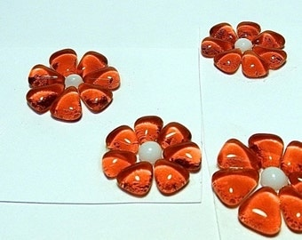 Glass Flowers For Mosaics, Jewelry, Magnets or other Embellishments 6 Flowers  (P204)