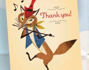 Thank You Note - Single Card - Fox on Parade - Pied Piper - Blank Inside