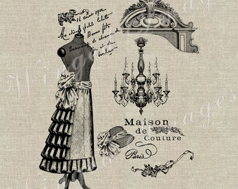 Vintage French Couture Ad Instant Download Digital Image No.108 Iron-On Transfer to Fabric (burlap, linen) Paper Prints (cards, tags)