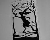 Running Hare printed A6 Card from an original paper cut