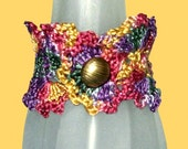 Jewel-Tone Crocheted Queen Anne's Lace Bracelet, Small Gold Button