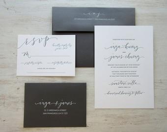 Modern Chic Calligraphy Letterpress Wedding Invitation Design