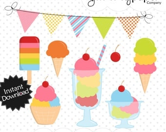 Rainbow Ice Cream Clipart - Cute Ice Cream Themed Digital Clipart - Personal and Commercial Use ric01