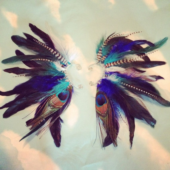 Handmade Feather Ear Cuff, Peacock Feathers, Grizzly Feathers, Blue, Hippie, Bohemian, Tribal, Aztec, Hair Feathers