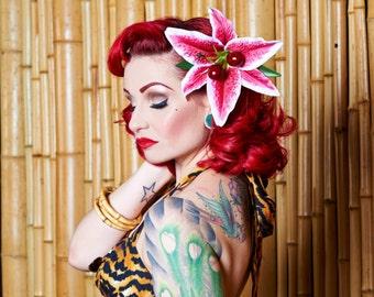 Rockabilly Stargazer and Cherry Hair Flower