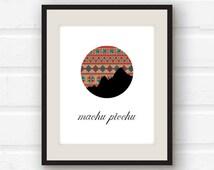 Machu Picchu art - Peru art - Machu Picchu silhouette print - Incan pattern
