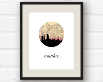 Omaha, Nebraska // Omaha skyline // Nebraska art // Omaha, NE // city skyline print