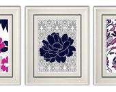 Set of Three Modern Fuchsia/Gray Art Print (Unframed)