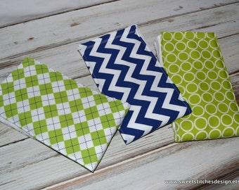 Baby Boy Burp Cloths Chevron Burp Cloth  Baby Burp Cloth Set Baby Item Burp Cloth Gift  Blue and Green - Sweet Little Genteman