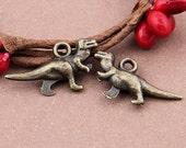 8pcs-3D Dinosaur-Antique brass metal Charm pendant beads-K 2506