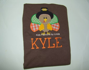 Personalized Brown Short Sleeve Shirt with Turkey Pilgrim  Applique