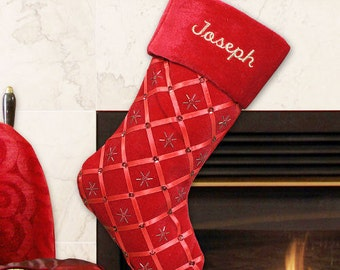 Red Ribbon Embroidered Stocking -gfyS57169