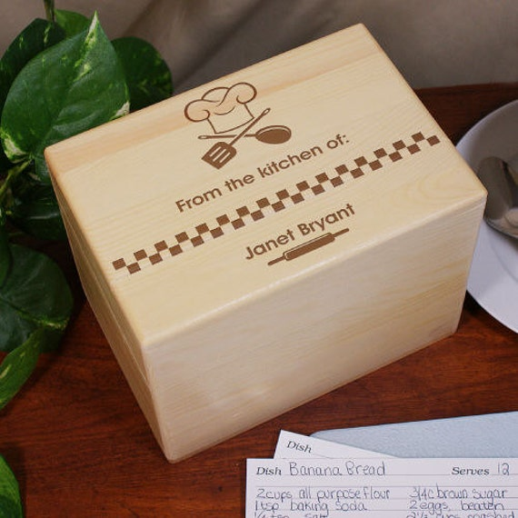Engraved From The Kitchen Of Personalized Recipe Box Wooden