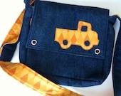 Kids or Toddler Messenger Bag - Denim with Orange Truck