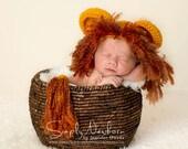 Crochet NEWBORN Lion Photography Prop Hat and Tail Set