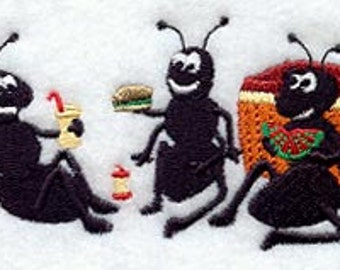 Ant Trio Picnic Embroidered Flour Sack Hand/Dish Towel