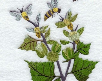 Bees in the Garden Embroidered Flour Sack Hand/Dish Towel