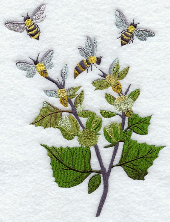 Bees in the garden embroidered flour sack hand dish towel for Garden embroidery designs free