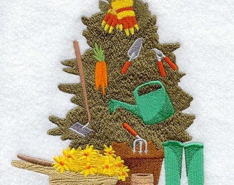 Hoe Hoe Hoe Christmas Gardening Embroidered Flour Sack Hand/Dish Towel
