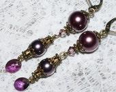 Crystal Earring -  Swarovski Lilac Shadow Crystal - Burgundy Pearl Dangle Earring