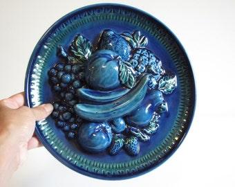 Vintage Inarco Blue Fruit Decorative Hanging Plate