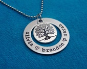 Hand Stamped Necklace  -  Personalized Hand Stamped Washer Necklace  -  Personalized Family Tree Necklace