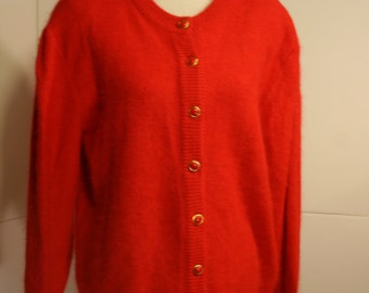 Vintage 80s Belldini Christmas Red Cardigan Lambswool blend size M 1980s