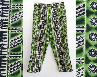 neon tribal print pants - 36