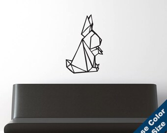 Rabbit Origami Wall Decal - Vinyl Sticker - Free Shipping