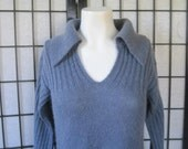 SALE Vintage Blue Sweater Mohair Wool by Crazy Horse 1970s V Neck Womens Pullover Tunic S M 34 35 Soft Periwinkle