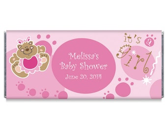 Beary Good Girl Baby Shower Candy Bar Wrappers - Set of 12