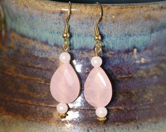 Rose Quartz Teardrop Bead Earrings - Item 1072