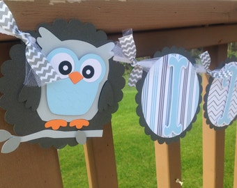Owl Baby Shower Banner Its A Boy Welcome Baby Grey's Blues Stripes and Chevron