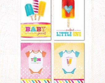 Watercolor Popsicle Baby Shower - Instant Download PRINTABLE Party Signs