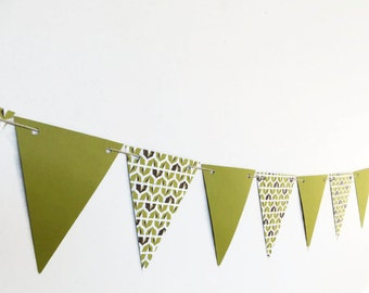 Green Geometric Bunting, Paper Patterned Banner, Double Sided Streamer, Modern Home Decor, Masculine Party Garland