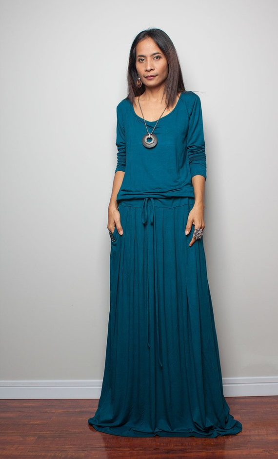 PLUS SIZE Teal Maxi Dress Long Sleeve Dress : Autumn Thrills
