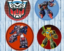 """INSTANT DOWNLOAD Transformers JPEG 4x6 Image Sheet 1"""" Bottle Cap Images. Hairbows Bottle Caps Cupcake Toppers"""