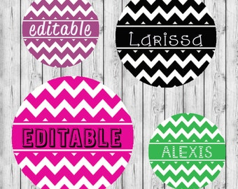 "INSTANT DOWNLOAD Editable Chevron Names JPEG 4x6 Image Sheet 1"" Bottle Cap Images. Hairbows Bottle Caps"