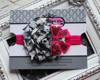 Zebra and Hot Pink Shabby Headband