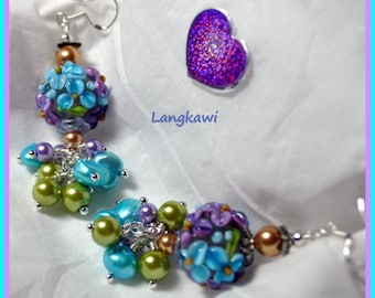 Turquoise Purple and Green Earrings,Earrings,Lampwork Floral Earrings,Dangle Earrings,Flower Earrings, - LANGKAWI -