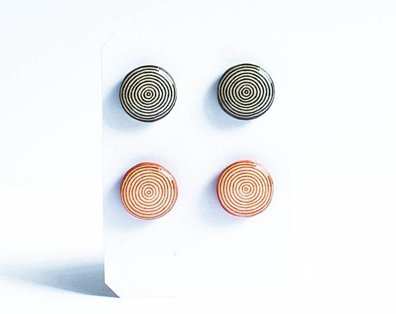 Stud earrings set, geometric jewelry, black and orange stud earrings, jewlry set