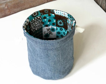 Denim and Teal Brown White Flowered Bucket Bag Flannel Upcycled Blue Jeans Makeup Travel Tote --- US Shipping Included